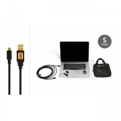 Starter Tethering Kit w/ USB 2.0 Micro-B 5 Pin Cable 15' BLK