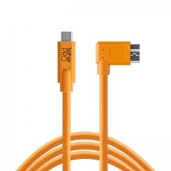 TetherPro USB-C to 3.0 Micro-B Right Angle, 15' (4.6m) ORG